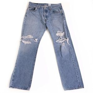 Levis 501 Button Fly Classic distressing jeans 34